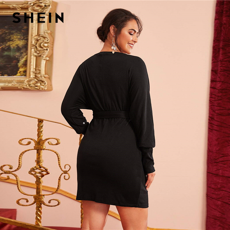 SHEIN Plus Size Pearls Beaded Self Belted Dress Women Spring Leg-of-mutton Sleeve Plus Wrap Black Elegant Short Fitted Dresses 2