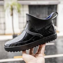 Waterproof rian boots men autumn/winter snow boots unisex PVC solid black boots man classic shoes(China)