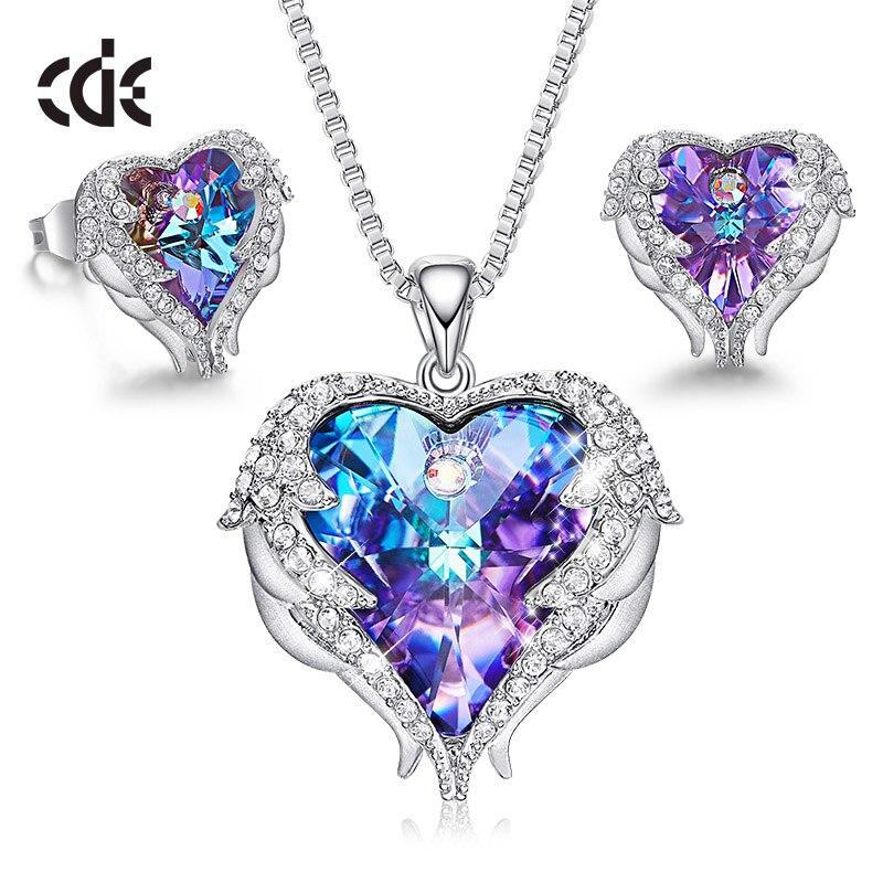 Ensemble de bijoux pour femmes CDE orné de cristaux de Swarovski collier boucles d'oreilles ensemble bijoux aile d'ange cadeau de saint valentin