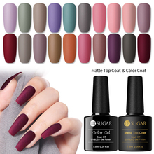 UR SUGAR 7.5ml Matte Top Coat Color UV Gel Nail Polish Pure Red Soak Off Art LED Varnish Base Lacquer Manicure