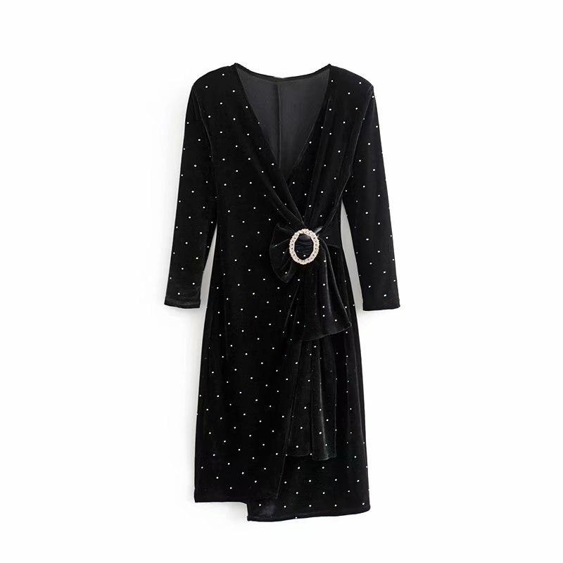 F9832-Western Style WOMEN'S Dress 2019 Summer New Style V-neck Slim Fit Buckle Light Diamond Velvet Dress
