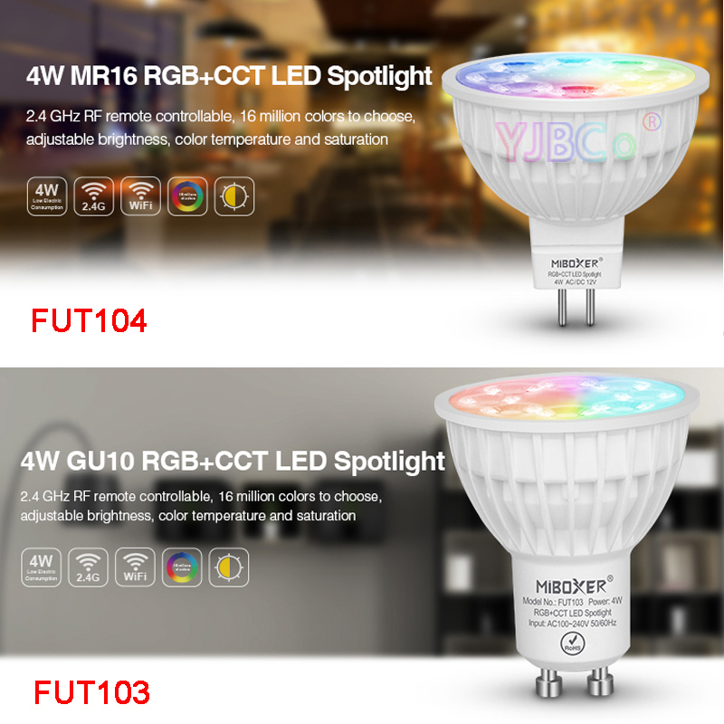 Miboxer 4W RGB CCT LED Spotlight FUT103 GU10 FUT104 MR16 led Bulb lamp for Bedroom Restaurant Sitting room Cook room lighting