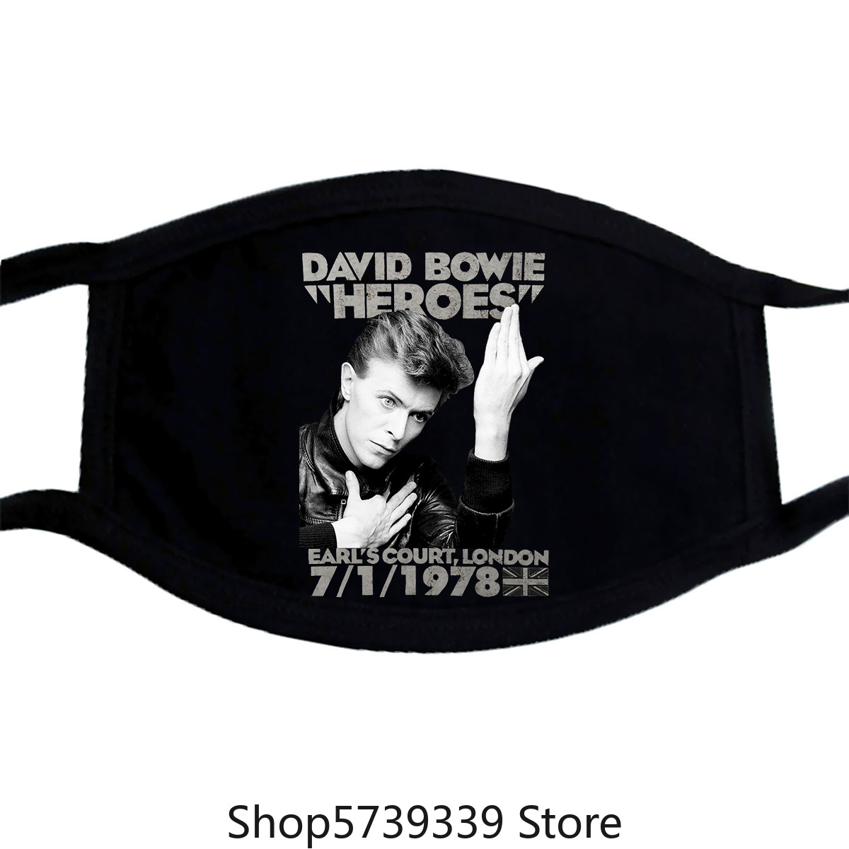 David Bowie Men'S Heroes Earls Court Slim Fit Mask Xx-Large Black Washable Reusable Mask With
