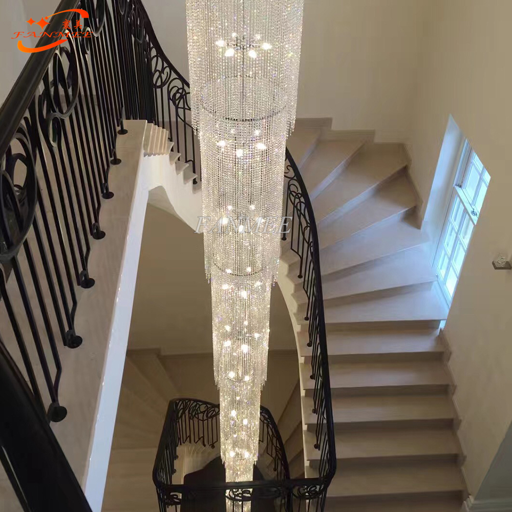 Modern Luxury LED Lead Crystal Chandelier Lighting Large Big Stair Chandeliers Staircase Hanging Lights Cristal Lamps