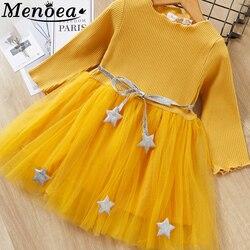Menoea outono meninas vestido 2019 novo estilo casual listrado meninas roupas de manga comprida malha design vestido para crianças roupas 3-7y vestido
