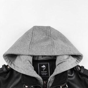 Image 4 - Blouson en similicuir PU chaud à capuche homme, coupe vent, pour moto, automne hiver offre spéciale, vêtements pour hommes