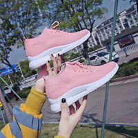 2019 new flying weaving women's sports shoes fashion Korean trend women's shoes