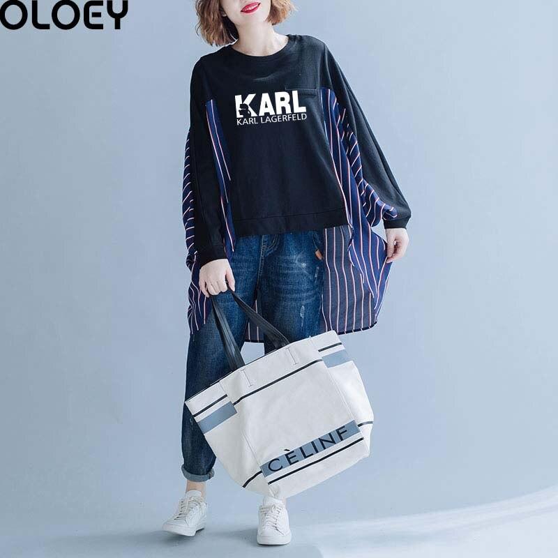2019 mode Karl lettre femmes chemises 4xl 5xl 6xl grande taille été Vintage Blouses Femme vêtements décontracté rayure coton lin hauts