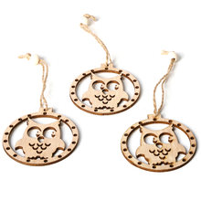 3pcs/set Vintage Christmas Owl Pendants with Rope Beads Ornament Wooden DIY Crafts Hanging Tree Party Decor Gift(China)
