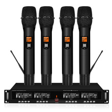 цена на Professional UHF wireless stage microphone system 4-channel 4 lavalier cordless microphone microphone headset with receiver