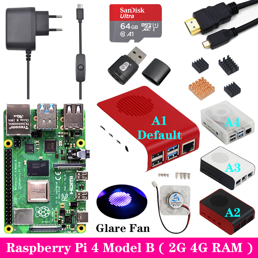 Raspberry Pi 4 2GB 4GB RAM with ABS Case Glare Fan 3A Power Supply Adapter Micro HDMI Cable for Raspberry Pi 4 Model B Pi 4B Pi4 image