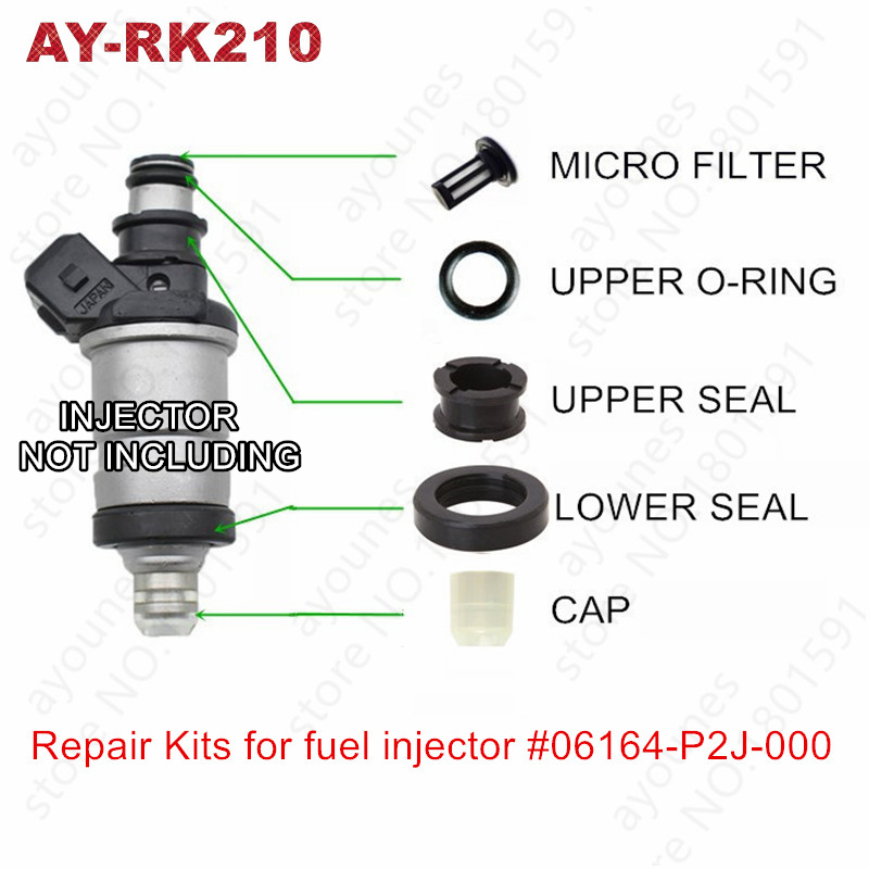 Бесплатная доставка, 4 комплекта для Honda ремонтные наборы деталей топливной форсунки, детали #06164-P2J-000 06164-P2A-000 для телефона