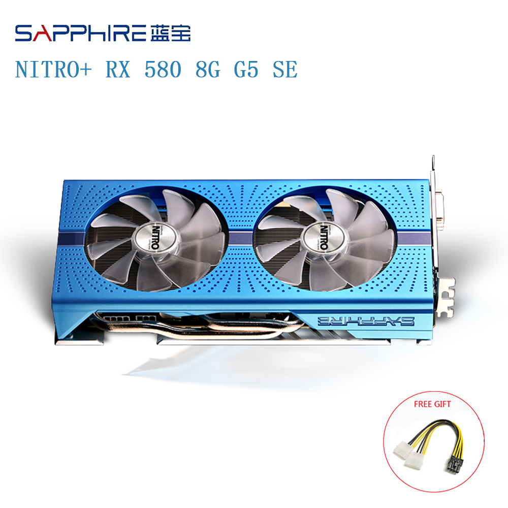 SAPPHIRE AMD Radeon NITRO+ RX 580 Graphic Card 8GB GDDR5 256bit Backplate Special Edition (UEFI) PCI-E Video Cards Used Cards