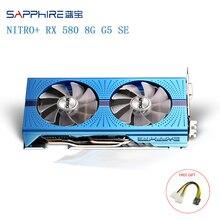 SAPPHIRE AMD Radeon NITRO + RX 580 Grafik Karte 8GB GDDR5 256bit Backplate Special Edition (UEFI) PCI-E Video Karten Verwendet Karten