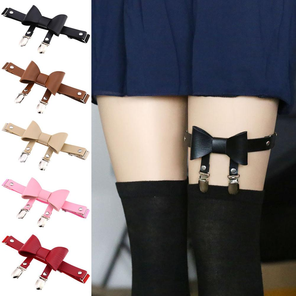 Chic Women Ladies Faux Leather Bowknot Leg Garter Belt Elastic Punk Thigh Ring Punk Goth Harajuku Leather Harness Accessory