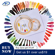 50/100 cores skeins bordado caneta agulha conjunto fio perfurador costura kit de tricô feminino mãe diy acessórios de costura com pinça