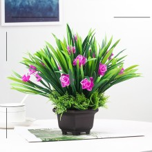цены Indoor Simulation Orchid Plastic Bonsai Artificial Flower Decoration Simulation Flower Sitting Room Potted Decoration Hot Sale