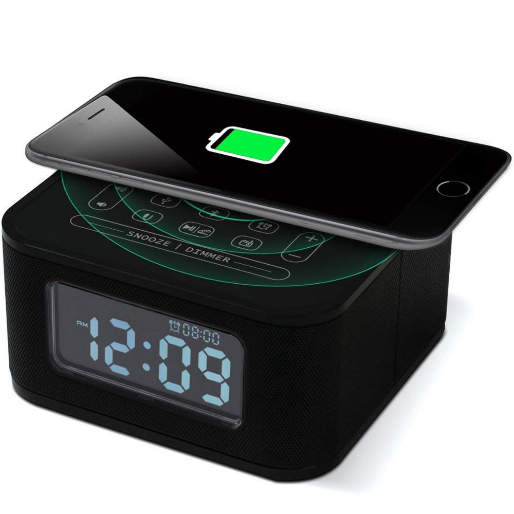 Orador portátil do bluetooth do rádio de fm dos alto-falantes do tempo com sistema portátil de carregamento sem fio do relógio de usb com microfone