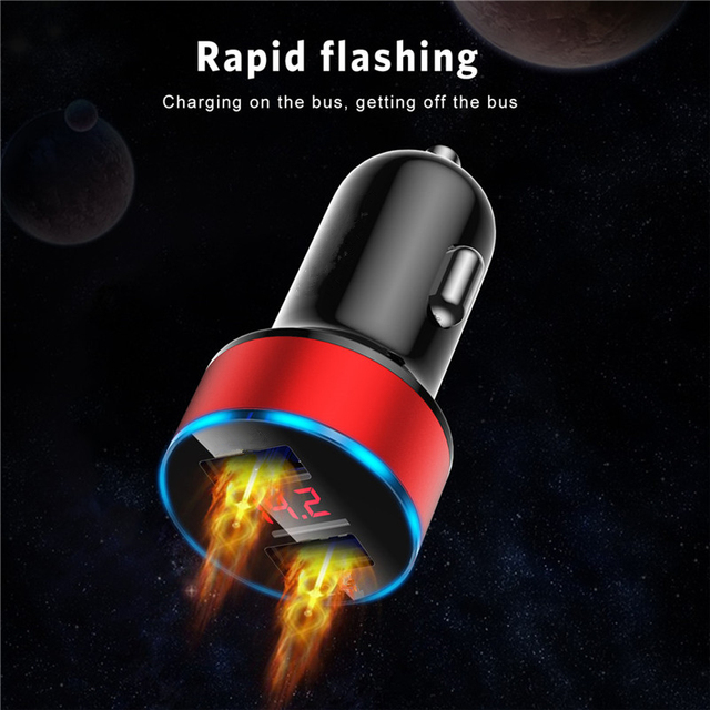 3.1A LED Display USB Phone Charger Car-Charger for Xiaomi Samsung For iPhone 11 Pro 7 8 Plus Mobile Phone Adapter Car Charger 5
