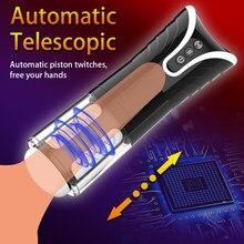 Elektryczny teleskopowy kubek do masturbacji dla mężczyzn automatyczny mężczyzna Masturbator prawdziwe pochwy zabawki dla dorosłych do pochwy dla mężczyzn masturbacja