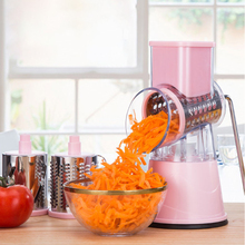 Manual Vegetable Cutter Round Mandoline Slicer Potato Cheese with 3 Stainless Steel Chopper Blades Kitchen Gadgets