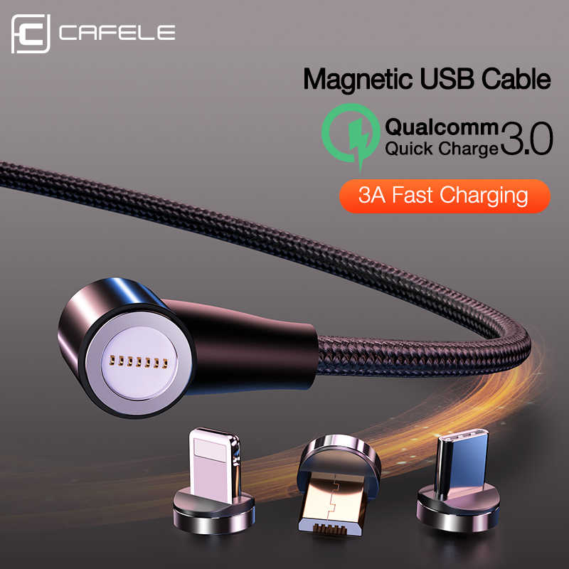 CAFELE QC3.0 Magnetic USB Cable Data Sync Charge Cable For iPhone Huawei Samsung 3A Fast Charging USB Type C Micro Cable