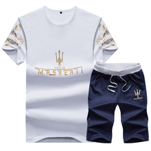 Summer New Mens Short Sleeve T-shirt Suit Shorts Elastic Sports Leisure Korean Edition
