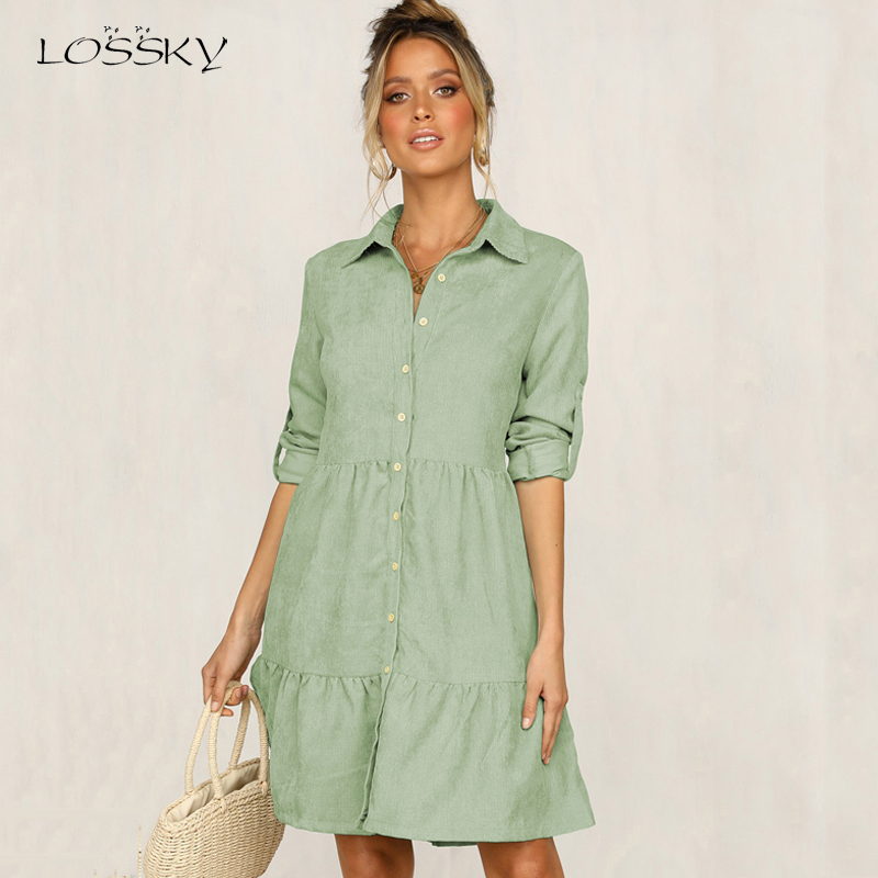Lossky Shirt Dress Long Sleeve Women Spring Office Work Dress Chic Button White Black Ladies Slim Midi Dresses 2020 Clothes