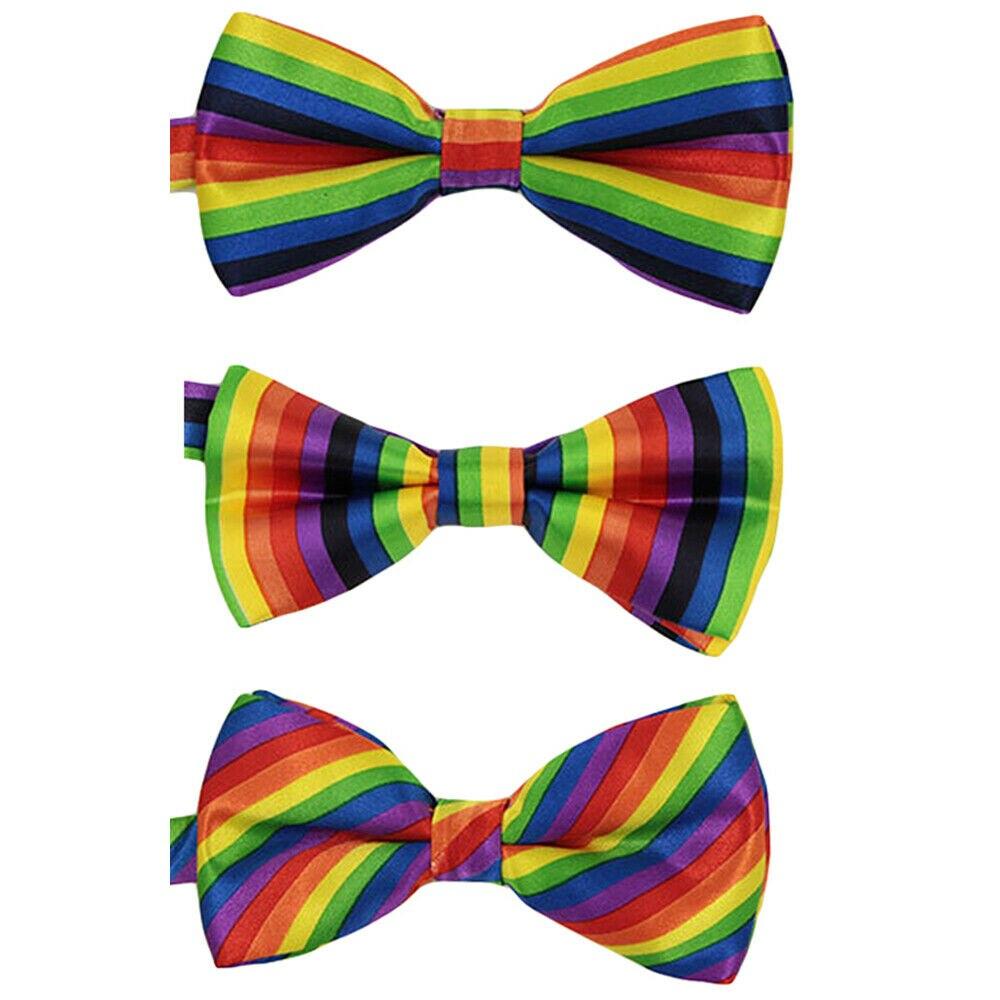 Men Bowtie Rainbow Stripe Pre-tied Bow Tie Wedding Party Adjustable Bowties