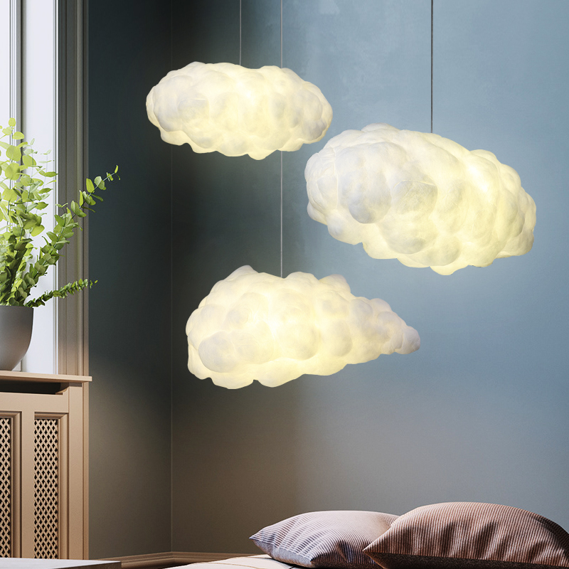 Creative White Clouds Chandelier Light Silk Cotton Cloud LED Suspension Hanging Lamp For Kids Room Nursery School Kindergarten