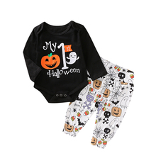 0-24M Newborn Baby Boy Girl  Halloween Clothes Set Pumpkin Long Sleeve Romper + Pants Outfits Festival Gift Baby Costumes цены онлайн