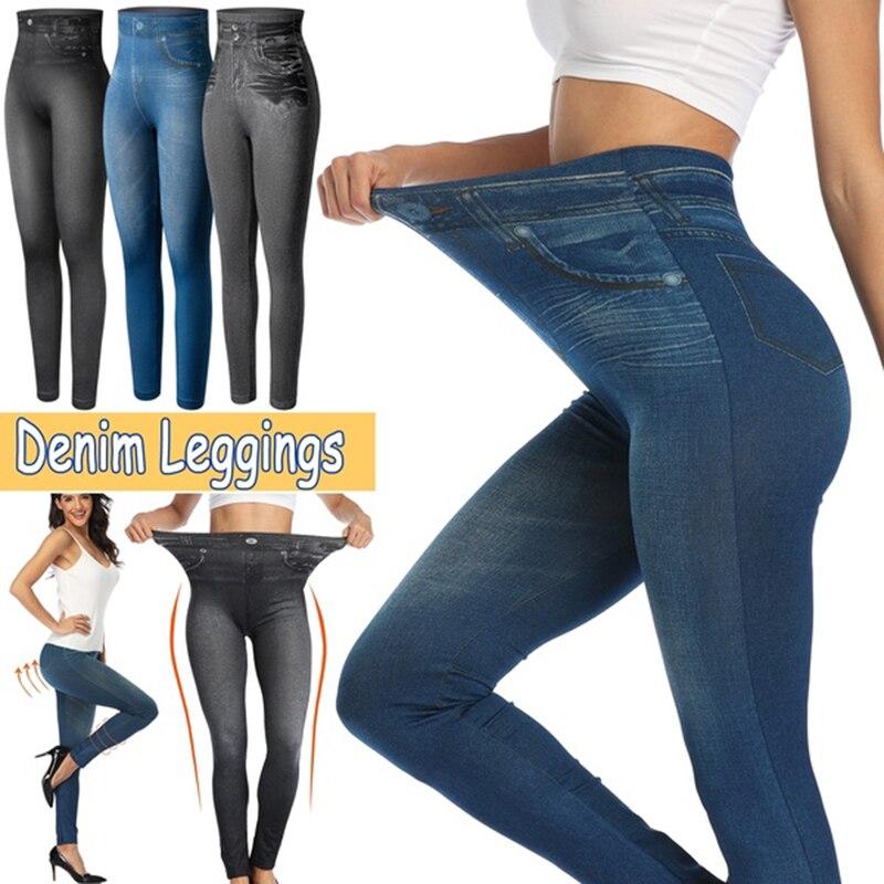 Women High Waist Spring Autumn Fashion Jeans Denim Design Leggings Pants Ladies Imitation Jeans Women's Plus Size Leggings