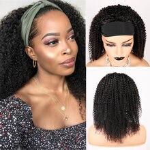 Afro курчавый кудрявый парик с головной повязкой натуральные