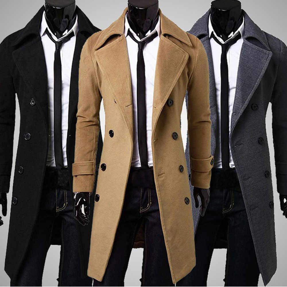 גברים של בלייזר מעילי חורף גברים רזה אופנתי טרנץ מעיל טור כפתורים כפול ארוך מעיל Parka גברים תעלה בתוספת גודל ב גברים של מעילים