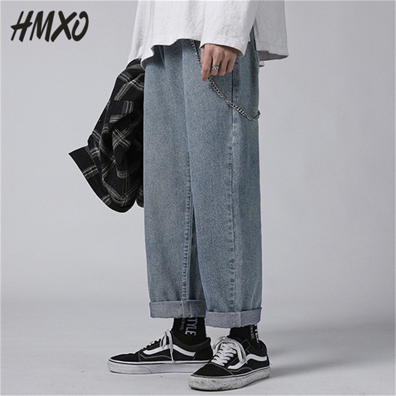 HMXO 2020 New Korean Fashion Harem Men's Blue Jeans Pants Vintage Male Straight Pants Harajuku Jeans Baggy High Quality Denim