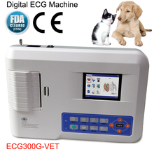 ECG300G-Vet Digital Veterinary Elektrokardiograph Animal 3 Channel Lead ECG Machine Portable EKG Monitor Heart Pulse Rate CE FDA