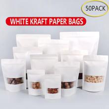 50 шт белые пакеты из крафт бумаги стоячие на молнии/с замком
