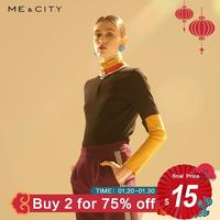 Me&city Spring New Women Aesthetics Tops&Tees Fashion Simple contrast color zipper casual sports short sleeve T shirt