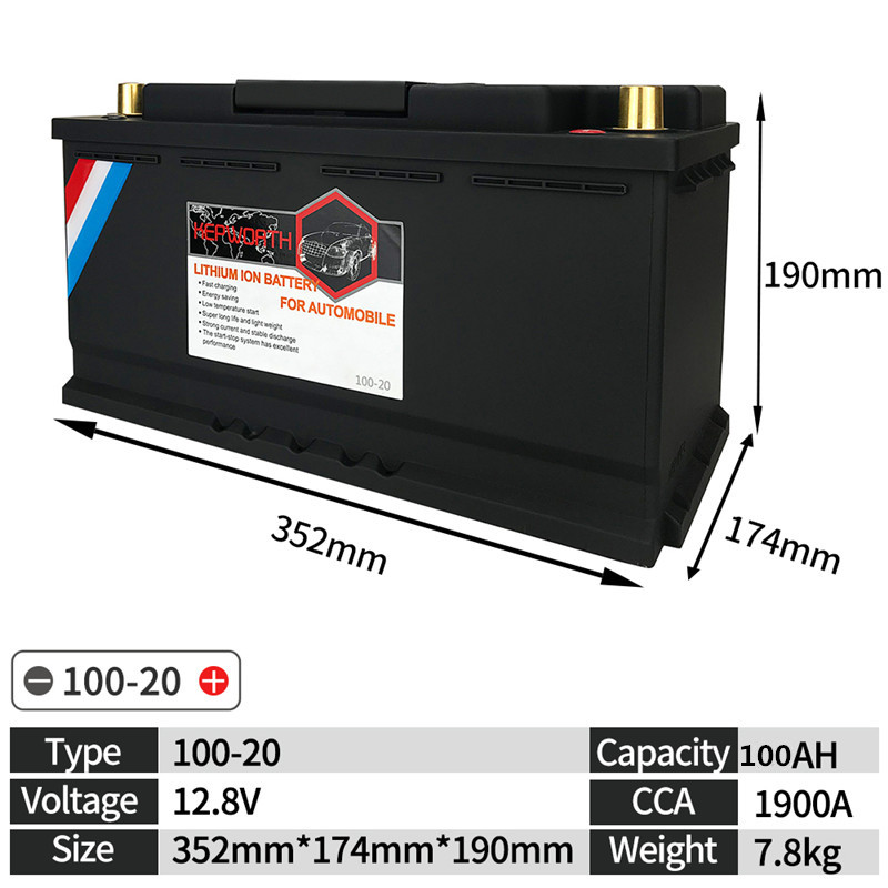 100-20 High Power Jump Starter Motor <font><b>Car</b></font> LiFePO4 <font><b>battery</b></font> 12V <font><b>100AH</b></font> CCA 1900A With BMS Voltage Protection lithium iron <font><b>battery</b></font> image