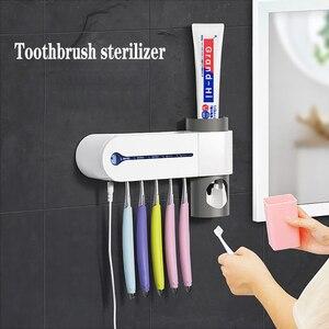 Światło ultrafioletowe ultrafioletowe sterylizator szczoteczki do zębów uchwyt na szczoteczki do zębów automatyczna pasta do zębów wyciskacz Cleaner 3w1 uchwyt antybakteryjny