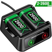BEBONCOOL – Pack de batterie Rechargeable 2x2600mAh, pour manette sans fil Xbox série X/Xbox One S, manettes de jeu + chargeur de batterie USB