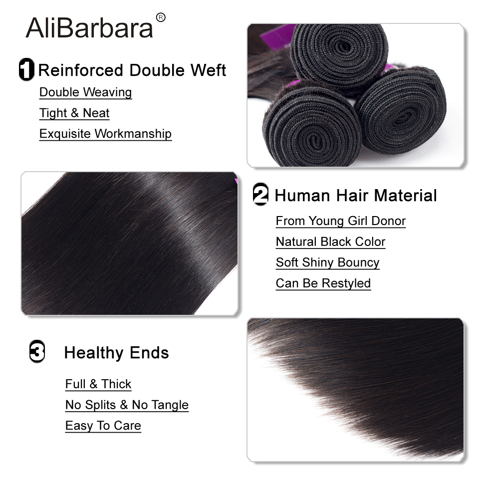 Alibarbara Brazilian Straight Hair With Closure 4 4 5 5 6 6 Free Middle Part Closure Alibarbara Brazilian Straight Hair With Closure 4*4 5*5 6*6 Free Middle Part Closure with Bundle Remy Human Hair Bundles With Cl