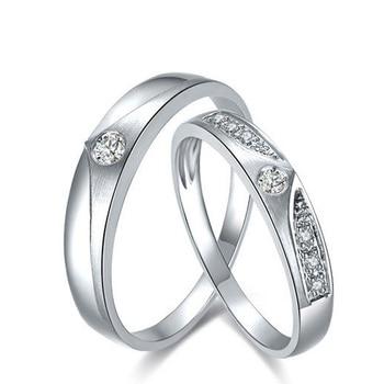 0.05ct/men 0.08ct/women Diamond Ring 18K White Gold Wedding Rings Couple Set Genuine Gold Engagement Ring Wedding Band