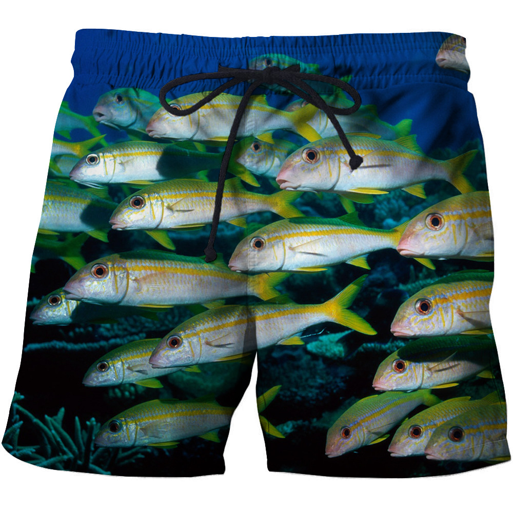 DIHOPE New 3D Fish Printed Summer Surfing Swiming Cotton Shorts Men Pants Drawstring Casual Beach Wear Men Thin Short Pants