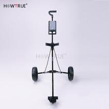 Golf Pull Cart Iron Black Adjustable Golf Trolley Cart 2 Wheels Push Pull Golf Cart Aluminium Alloy Foldable Trolley With Brake