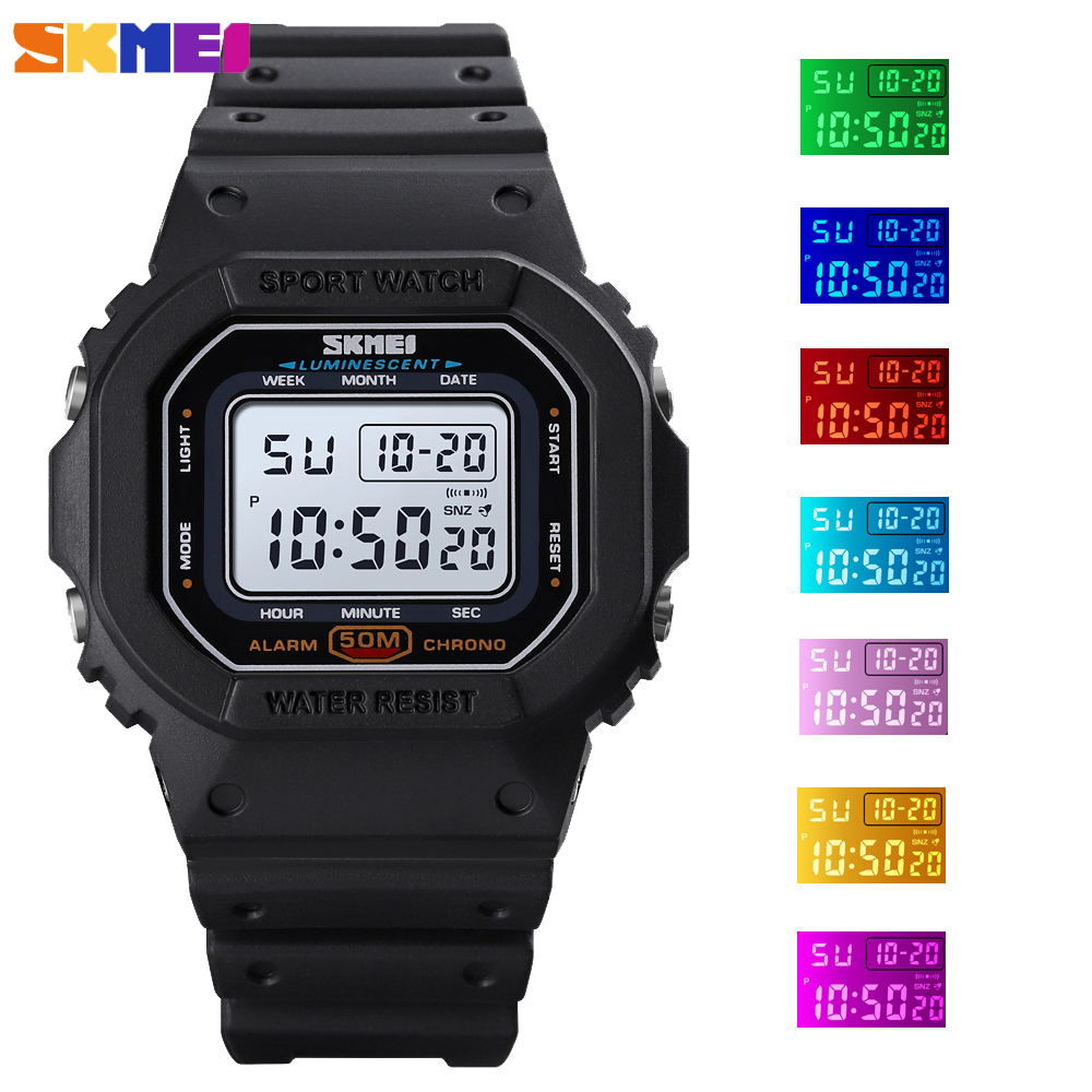 SKMEI Outdoor Digital Men's Watch Military Colorful LED Light Male Clock Sports Waterproof Chronograph Wristwatch Montre Homme