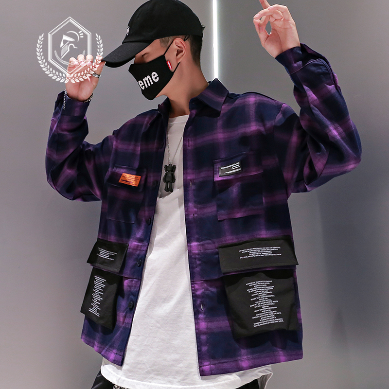 Men Fashion Loose Plaid Print Casual Safari Style Pockets Hip Hop Shirts