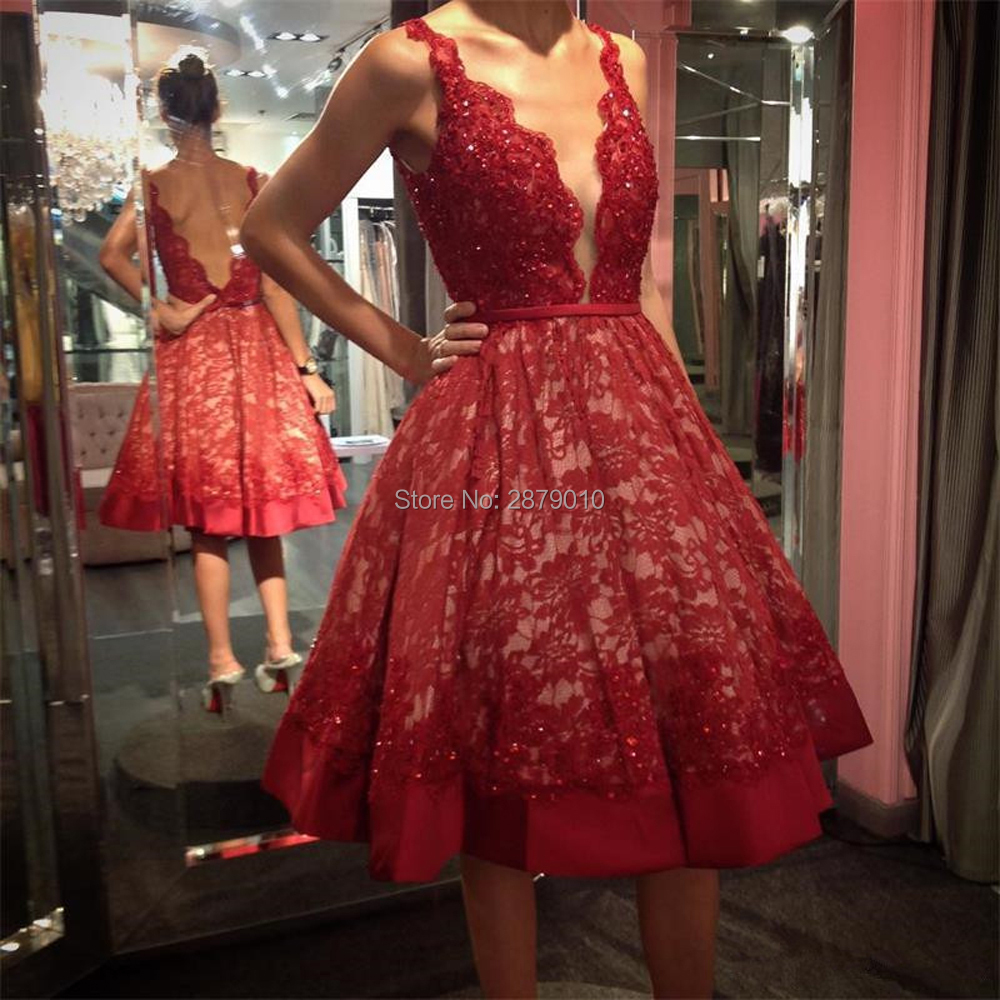 Red Homecoming Dress V-Neck Sleeveless Knee-Length Backless Lace Beaded Sequined Club Dress Cocktail Dress Коктейльный костюм