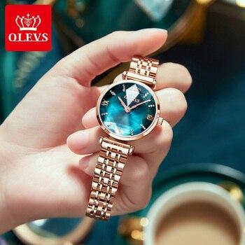 OLEVS New Women Luxury Jewel Quartz Watch Waterproof Stainless Steel Strap Watch For Women Fashion Date Clock 4