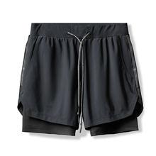 Двухслойные антиблесковые спортивные шорты для мужчин тренировочные